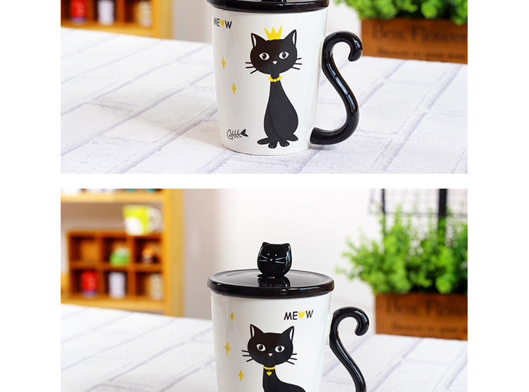 3 In 1 Ceraminc Cat Tail Handle Coffee/Tea Mugs With Cover That