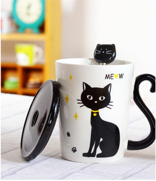 Superb 3 In 1 Ceraminc Cat Tail Handle Coffee/Tea Mugs With Cover That