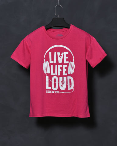 Live Life Loud - Pink Oversized T-shirt for Women