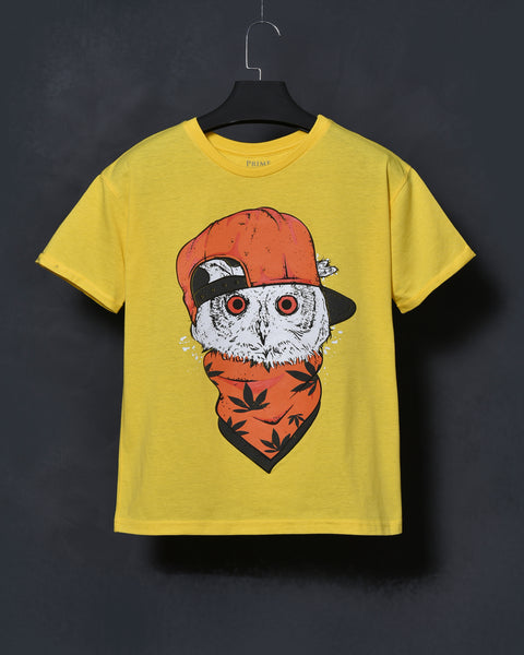 Cool Owl - Yellow Oversized T-shirt for Women