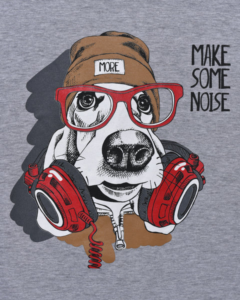 Dog With Headphones - Heather Grey Oversized T-shirt