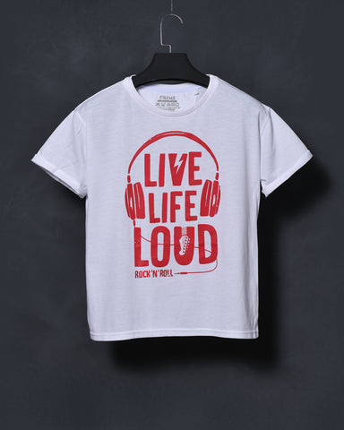 Live Life Loud - White T-shirt for Women