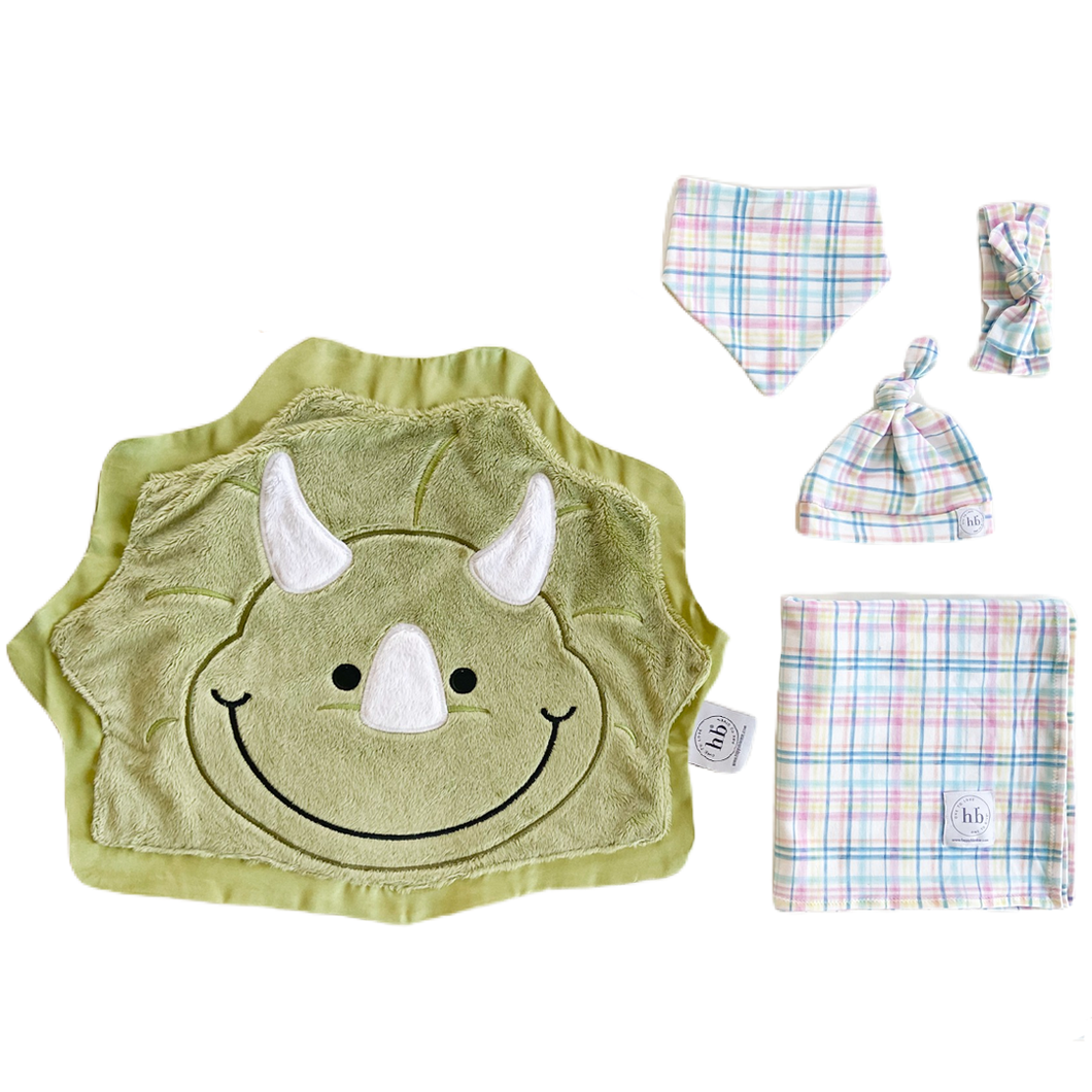 Chomp Pastel Plaid Swaddle Set