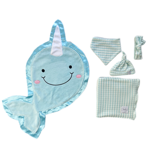 Echo Ice Blue Check Swaddle Set