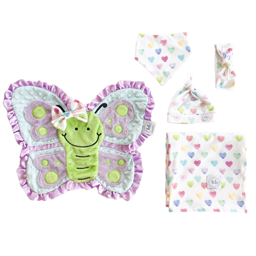 Hope Watercolor Hearts Swaddle Set