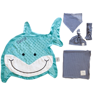 Finn Denim Stripe Swaddle Set