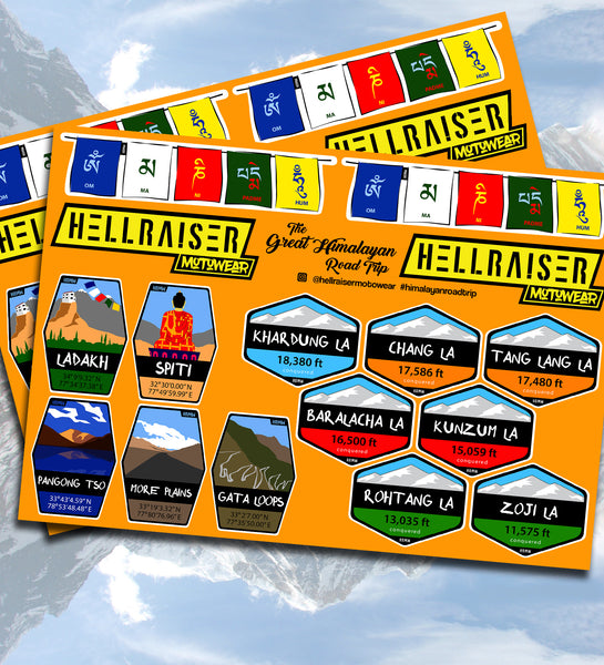 Great Himalayan Road Trip Sticker Set | HellRaiser MotoWear