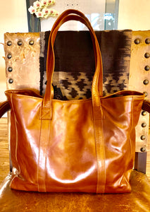 Leather  Calistoga Wine Tote