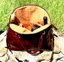 Leather Messenger Bag Wine Tote