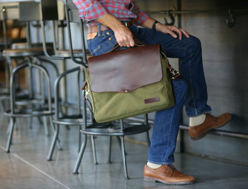 Canvas and Leather laptop / wine sales bag