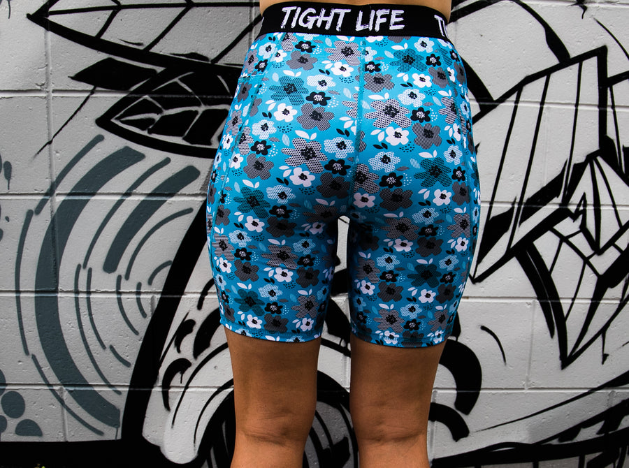 Blue Flowers Longer Shorts with Pockets