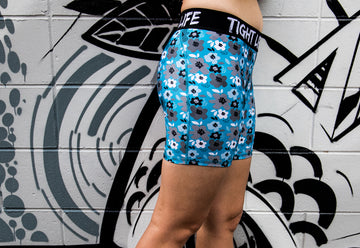 Blue Flowers Mid Length Shorts