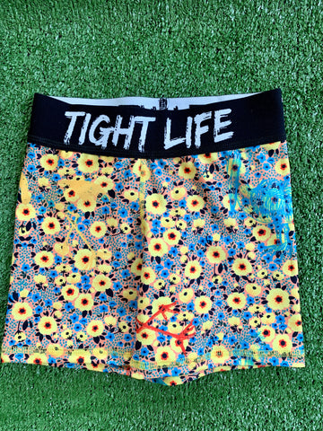 Yellow Flowers Kids Bike Shorts