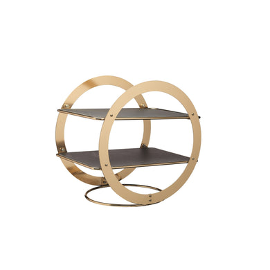 2-Tier Geometric Brass Coloured Serving Stand with Slate Serving Platters