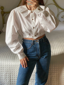Vintage pure cotton double collar maxi sleeve crop shirt