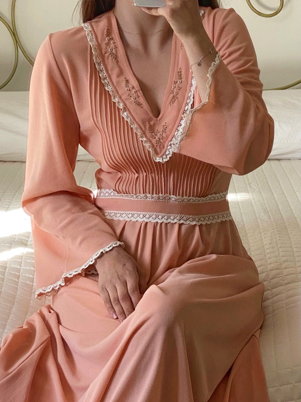 Vintage 70s lace details embroidered peach dress/nightgown