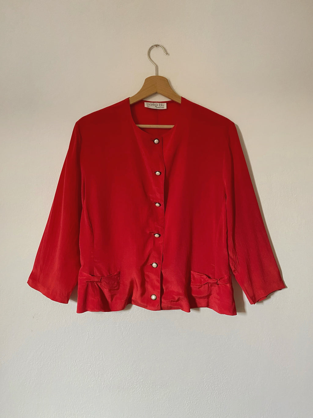 Vintage Italian pure silk jewels buttons red shirt