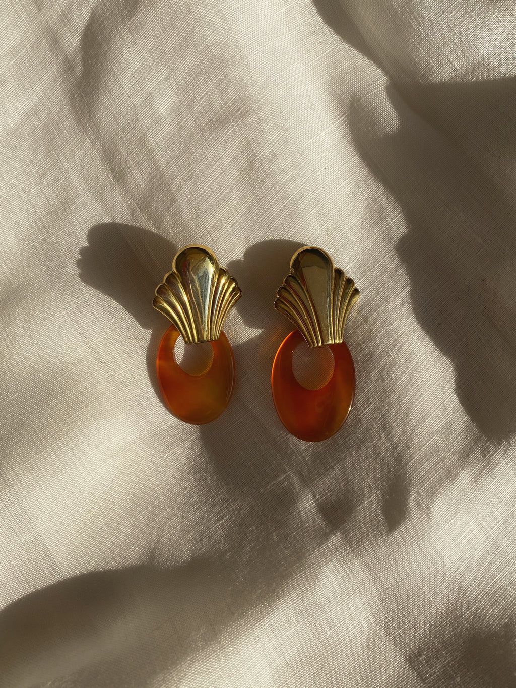 Vintage silver 925 and carnelian stone drop earrings