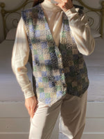 Vintage French wool blend multicolor buttoned vest