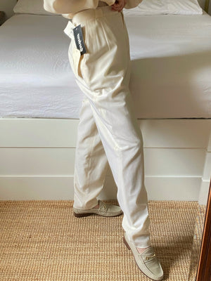 Vintage wool and linen high waist classic cream pants