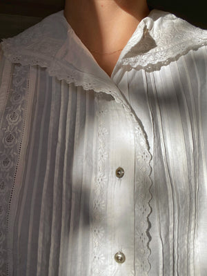 Vintage antique pure cotton lace details collar blouse