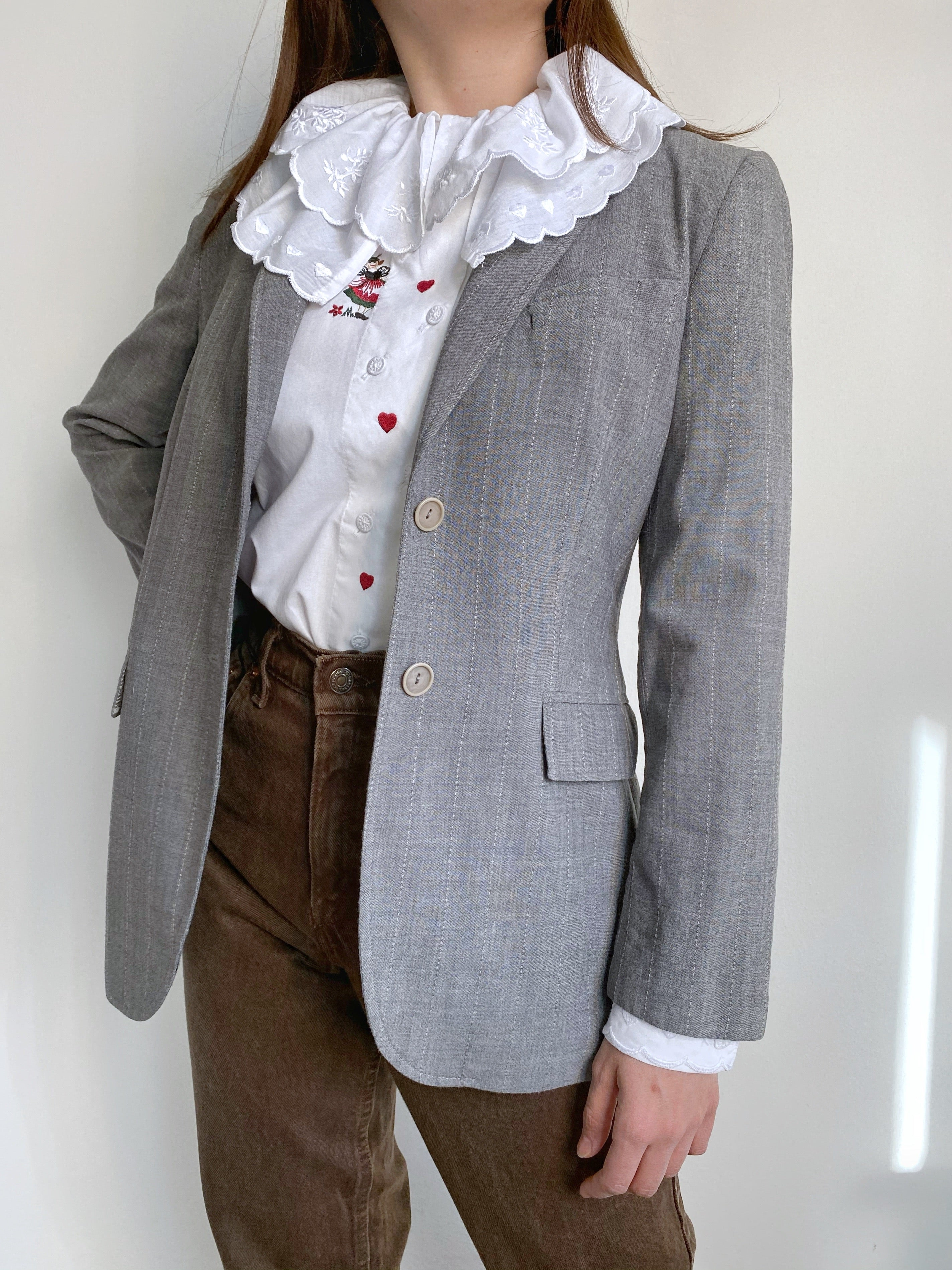 Vintage Max&Co lightweight wool striped grey blazer