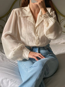 Vintage pure silk hand embroidered liquid blouse