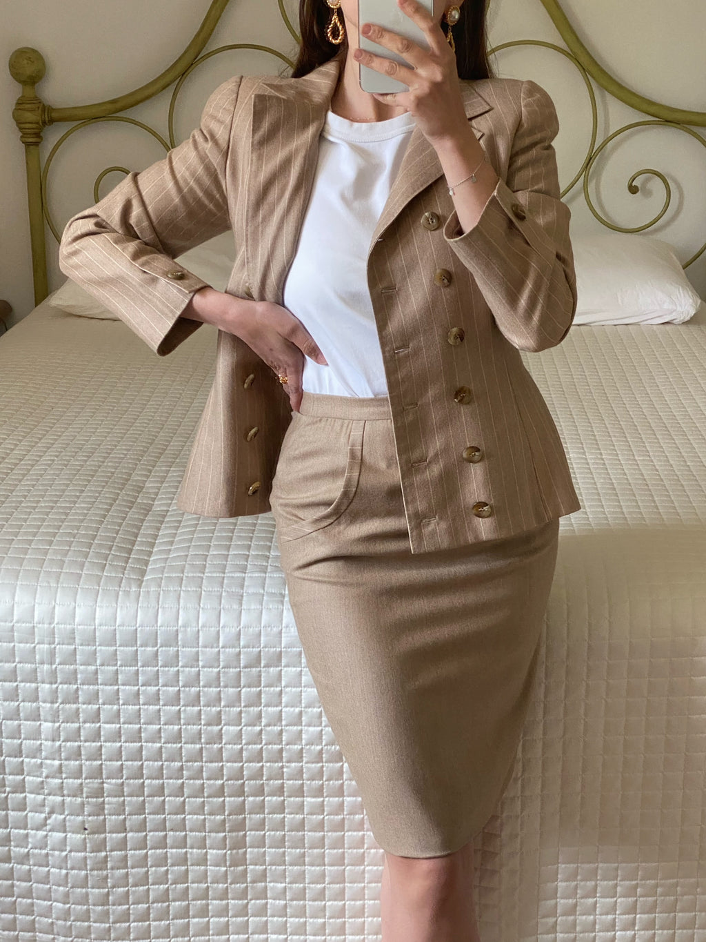 Vintage Italian tailoring pure lightweight wool two pieces striped beige set