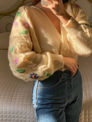 Vintage Austrian wool blend double breast embroidered cream cardigan