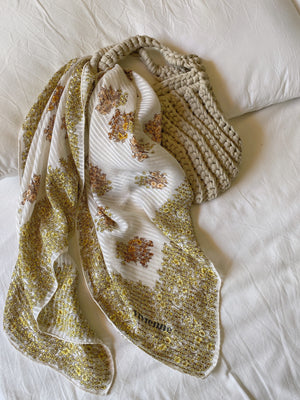 Vintage pure silk flowers striped scarf