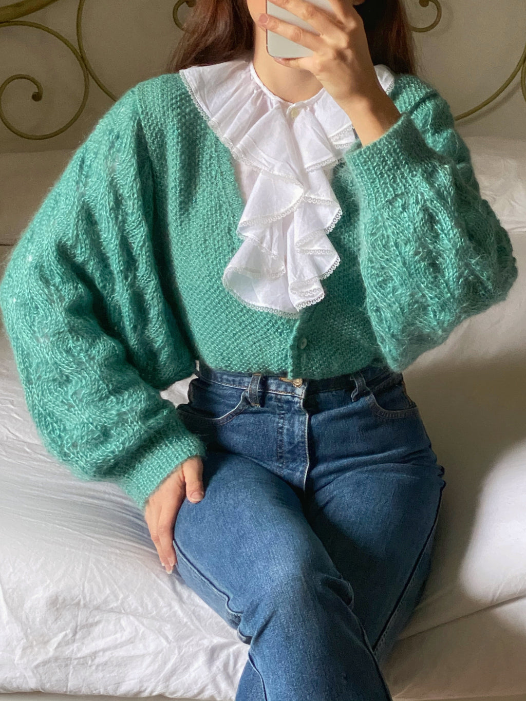 Vintage pure wool maxi puff sleeve knitted cardigan