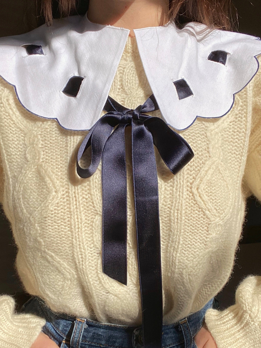 Vintage satin ribbon cotton collar
