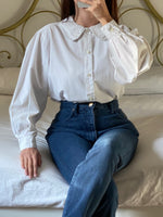 Vintage Italian pure cotton puff sleeve embroidered collar white blouse