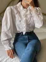 Vintage Austrian cotton blend puff sleeve ruffled shirt