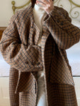 Vintage wool and mohair double breasted checked scarf coat