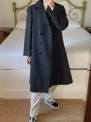 Vintage Italian pure wool double breasted grey coat