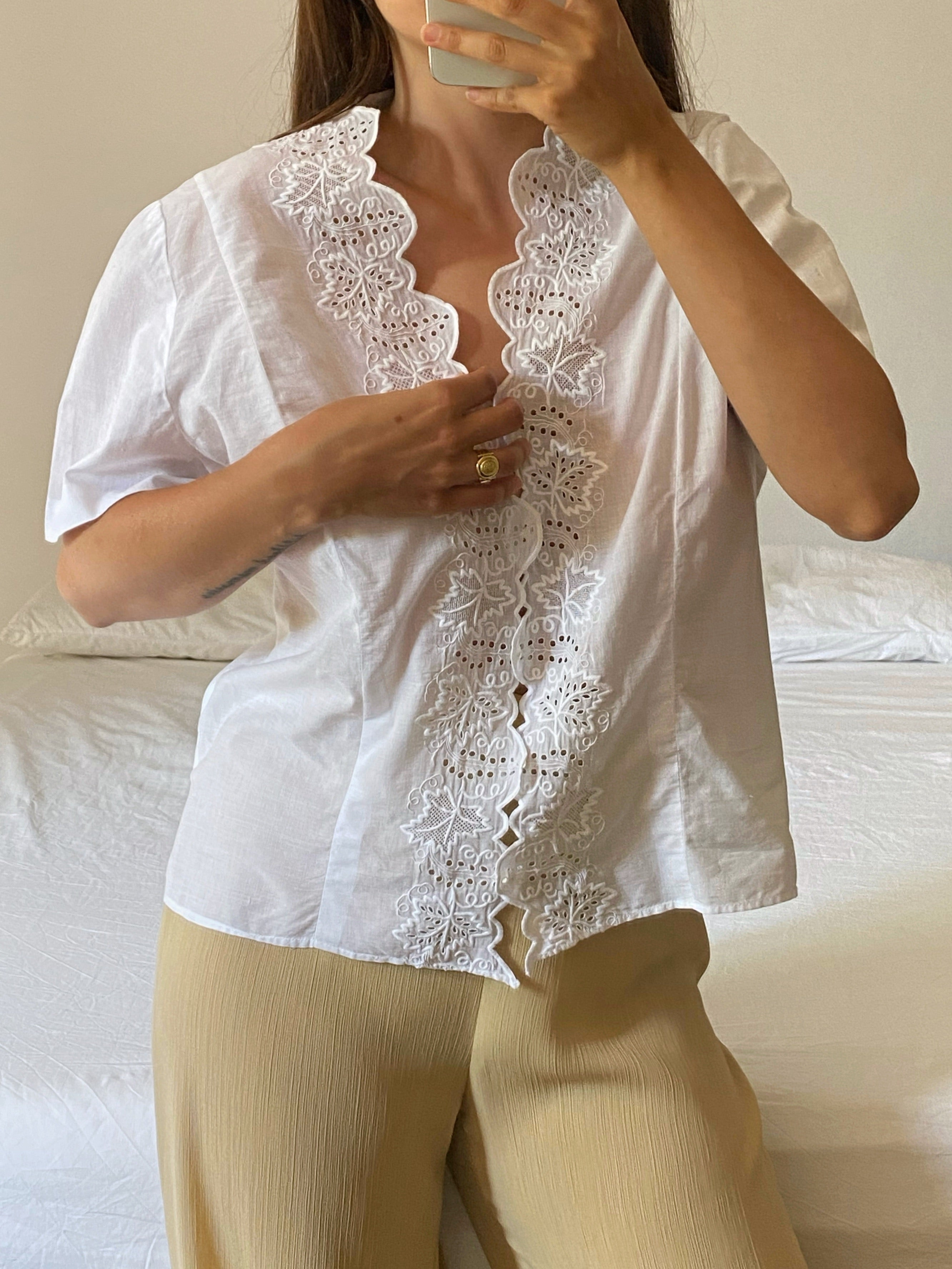 Vintage handmade pure cotton lace details blouse