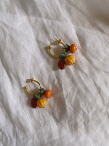 Vintage multi fruits hoop earrings