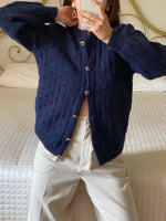 Vintage handmade pure wool jewels buttons knitted blue cardigan