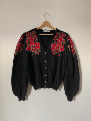 Vintage Italian wool and mohair puff sleeve embroidered cardigan