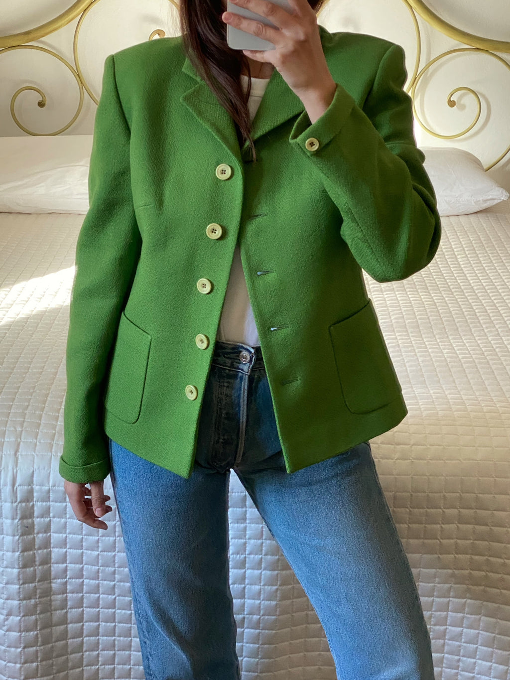 Vintage made in Italy pure wool pea green pockets jacket
