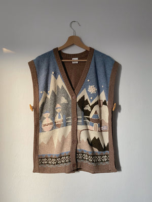Vintage wool and silk illustrated buttoned vest