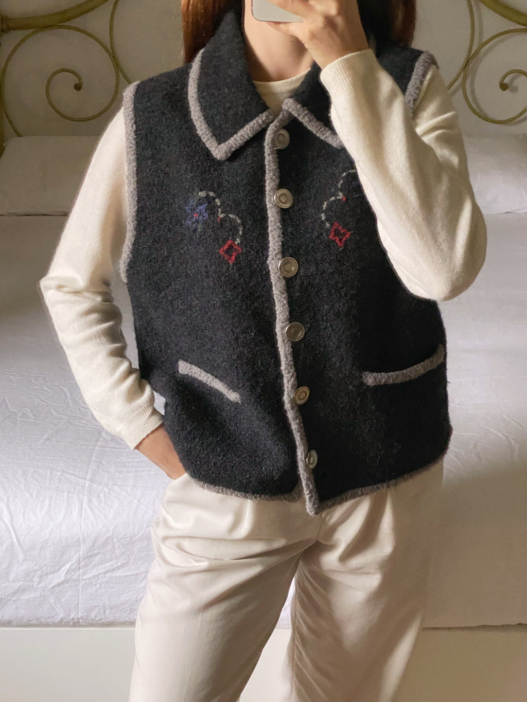 Vintage Woolrich pure wool collar buttoned vest