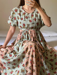 Vintage viscose puff sleeve flower dress