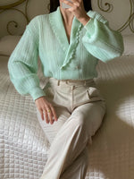 Vintage pure wool double breast puff sleeve mint cardigan