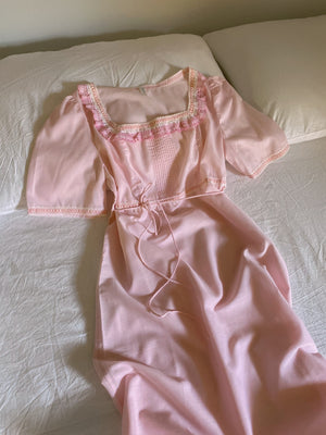 Vintage rouches details puff sleeve pink dress/nightgown