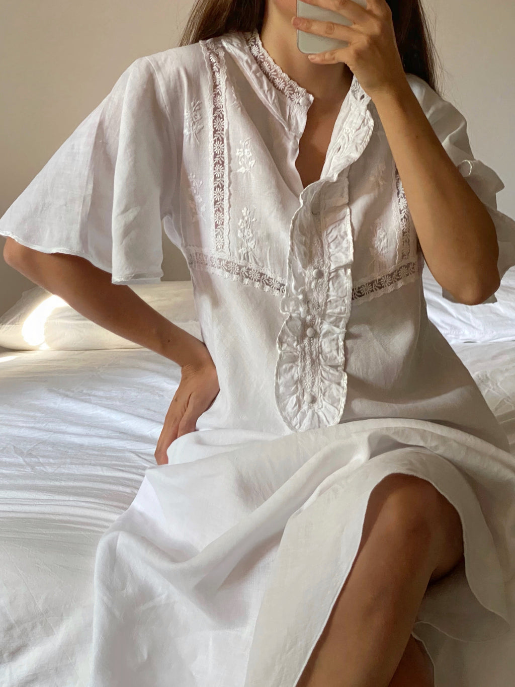Vintage antique linen embroideries details short sleeve long dress