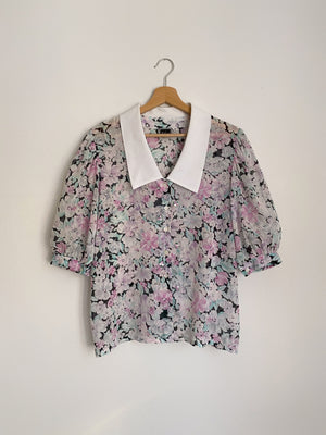 Vintage Luisa Spagnoli pure cotton puff sleeve collar flowers blouse