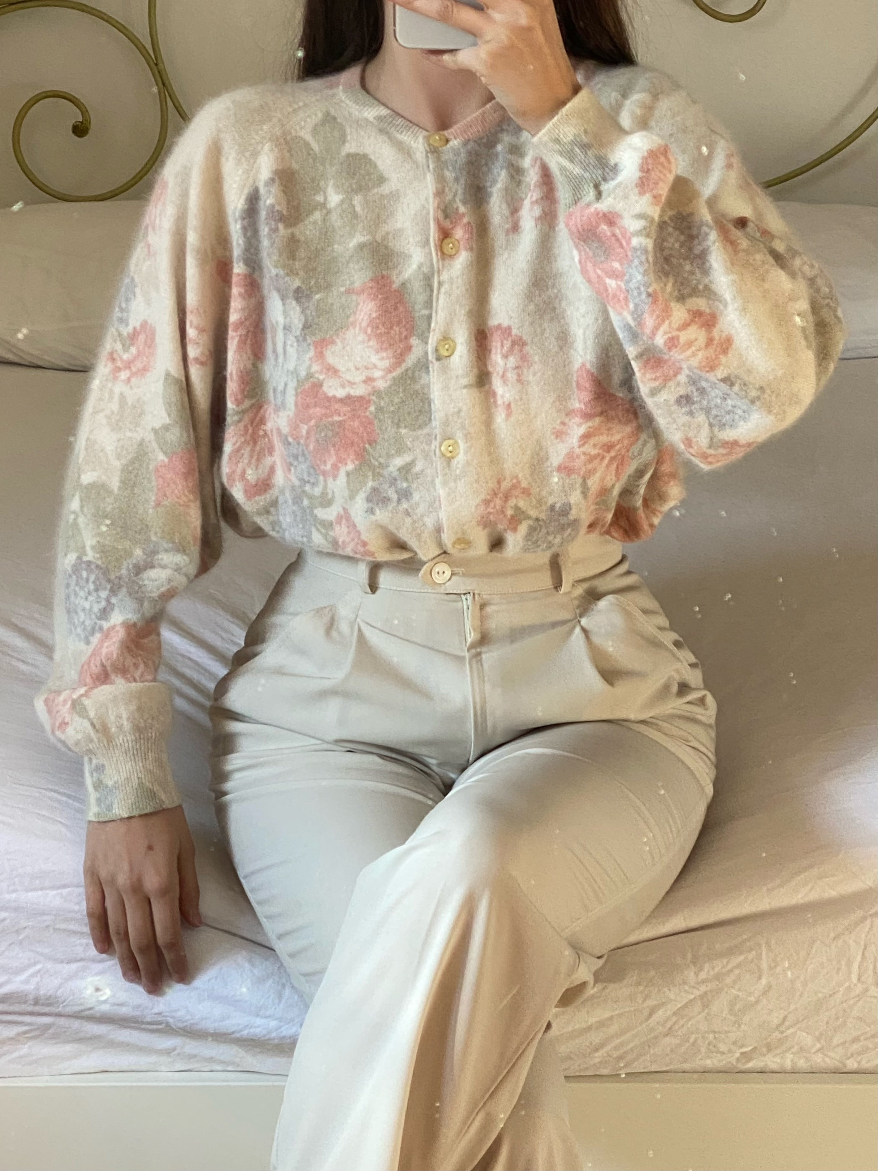 Vintage Italian angora and wool flower cardigan