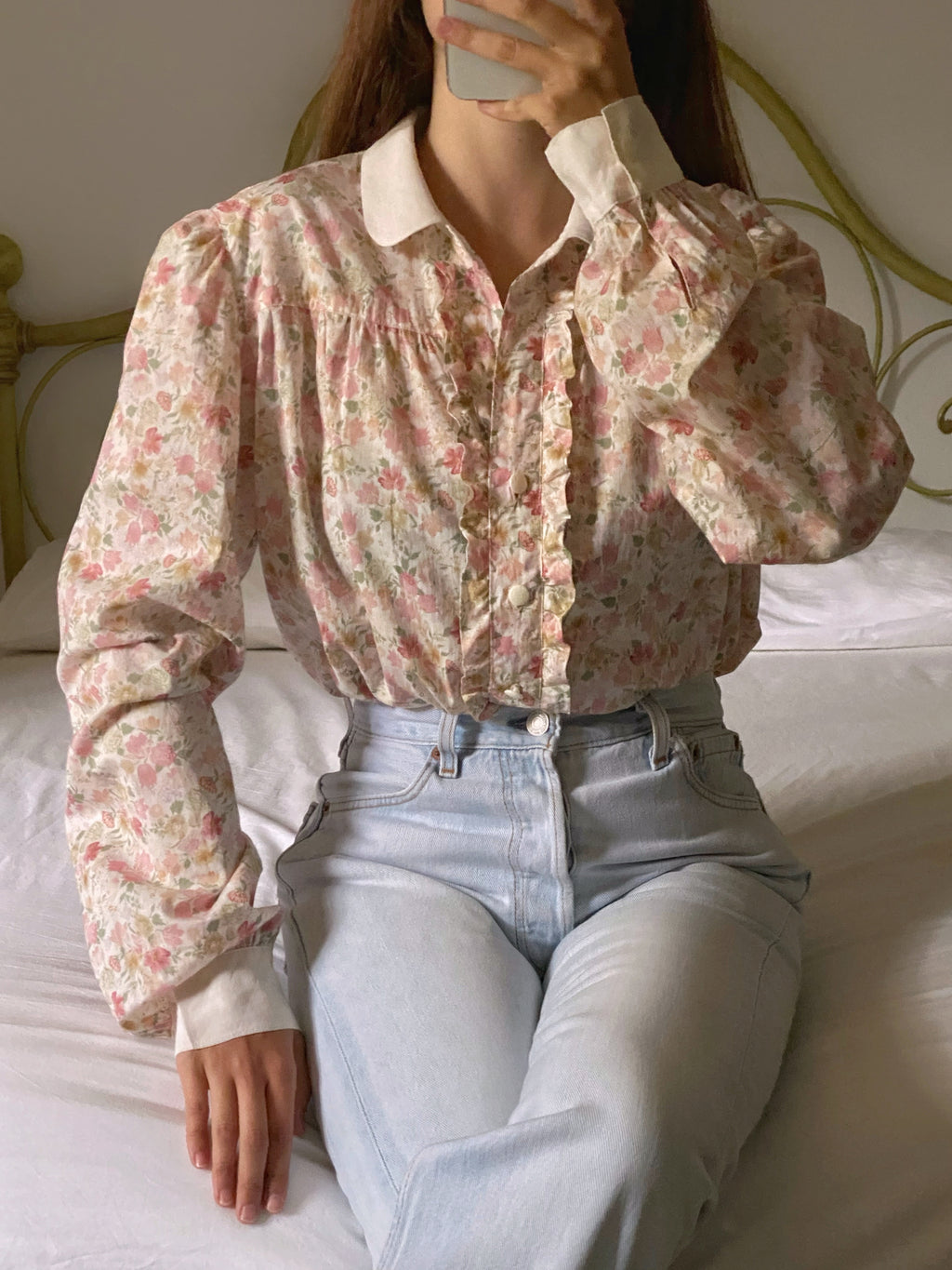 Vintage handmade cotton flowers shirt with silk details